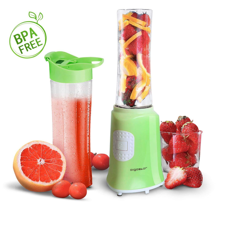 Aigostar Summer 30IWW - Mini blender mixeur portable pour smoothies, milk-shakes et jus de fruits sans BPA. Puissance de 350W. Inclus 2 verres en Tritan de 600 ml et 2 couvercles.