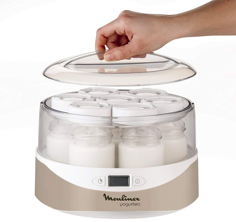 Moulinex YG231E32 Yaourtière Yogurteo 7 Pots de Yaourt Inclus Programmable Écran LCD Minuteur 13W Silver
