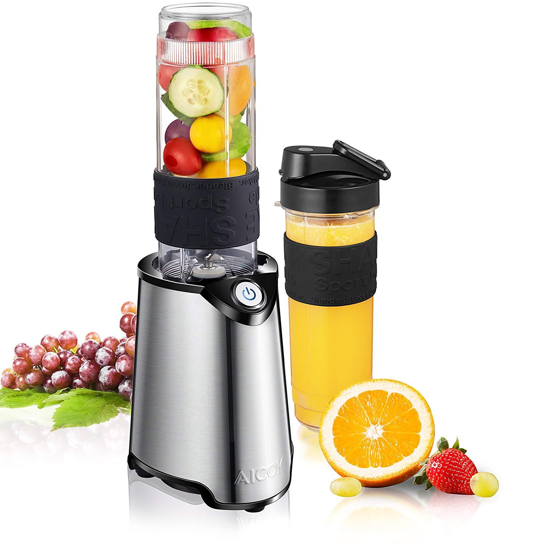 Aicok Mini Blender, Smoothie Mixeur pour Milk-Shake, Jus de Fruits et Légumes, 2 Bouteilles portables de 600ml pour Sport, Voyage et Maison, Tritan Sans BPA, 300W, Inox