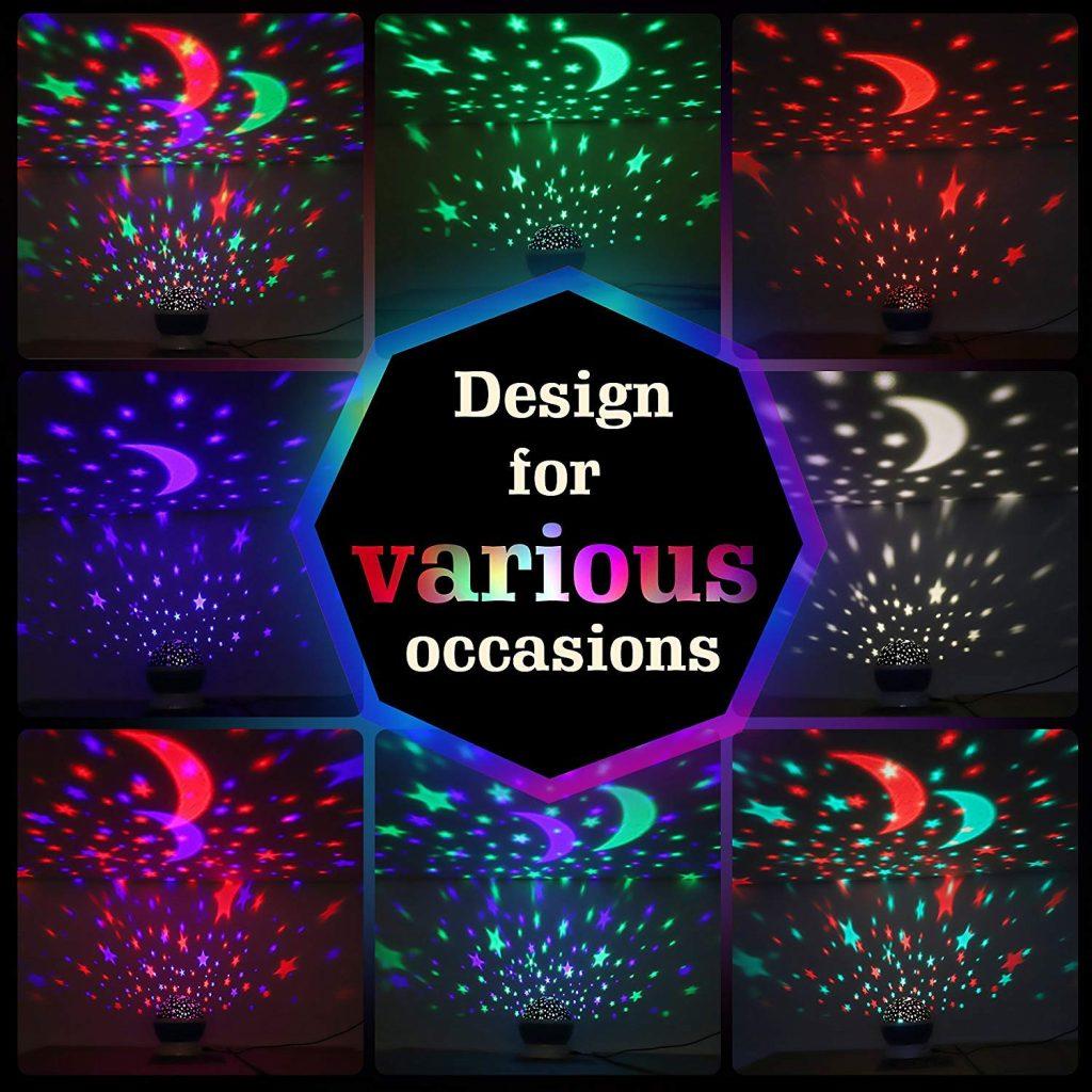 CYMY Projecteur veilleuse étoilée Rotation à 360 degrés - Meilleurs Cadeaux
