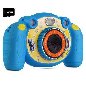 Campark Caméra Enfant HD Caméra numérique pour Enfants avec 2.0 Pouces Écran Couleur Appareil Photo Enfants Jouet Cadeau pour Garçons Filles Bleu(Carte Micro SD Incluse)