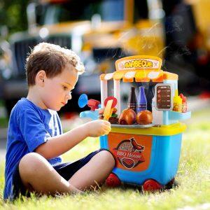 GizmoVine Jouets pour Enfants 3-5 Ans Barbecue Simulation Nourriture Cuisine Educatifs Jouets Set Pretend Rôle Chariot Anniversaire (Barbecue)