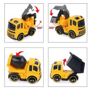 BeebeeRun 4 Pièces Véhicule de Construction Petite Voiture Voiture Enfant Metal Vehicules Jouet de Camion Voiture Cadeau Garçon Fille 3 Ans 4 Ans 5 Ans