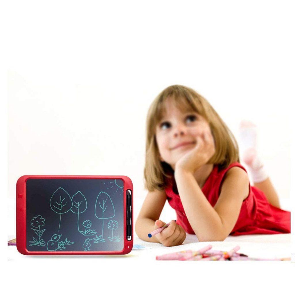 NOBES Tablette d'écriture LCD eWriter 12 Pouces, Ardoise Magique effaçable Tableau, LCD Écriture Tablette Dessin électronique, Doodle Pad, Jouets Éducatif, pour Enfants,Bureau,école,Maison (Vermillon)