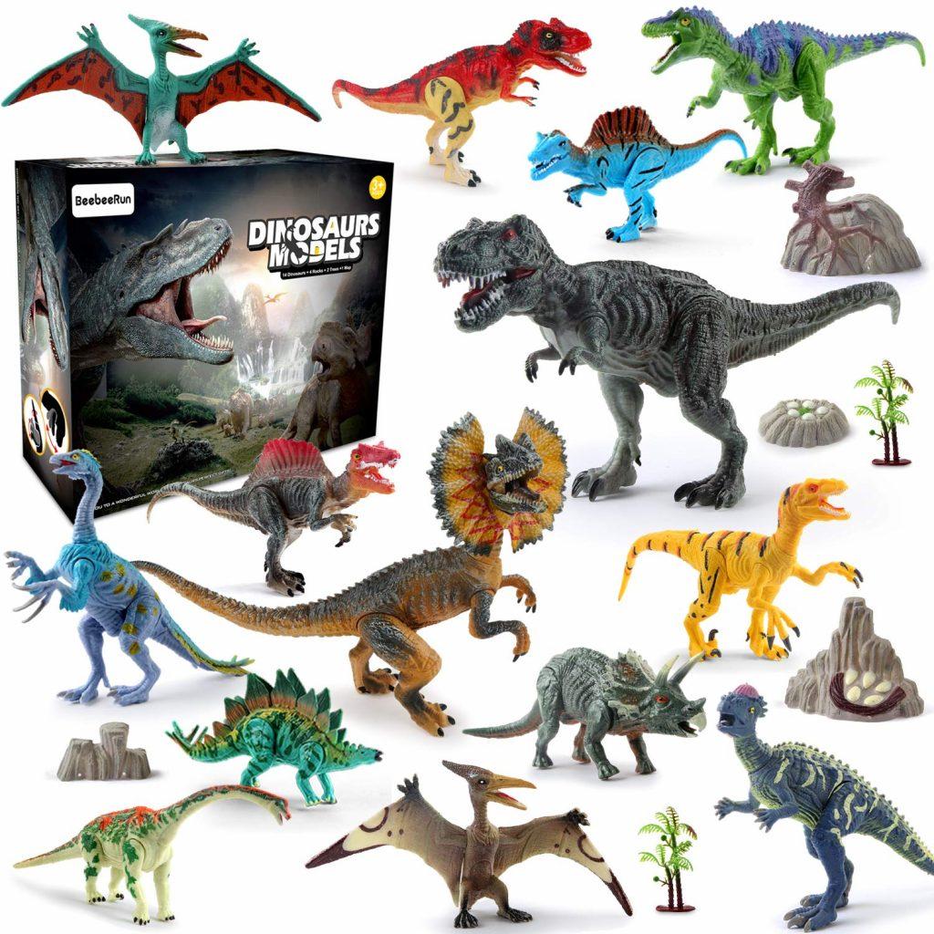 BeebeeRun Dinosaure Jouet 21pcs Plastique Dinosaure Chiffres Educatif Jouets pour Enfants Dinosaure Modèle Ensemble Cadeaux de Noël