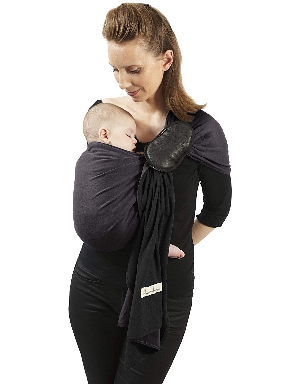 Je Porte Mon Bébé La Petite Echarpe sans Noeud - Réversible - Anthracite/Noir