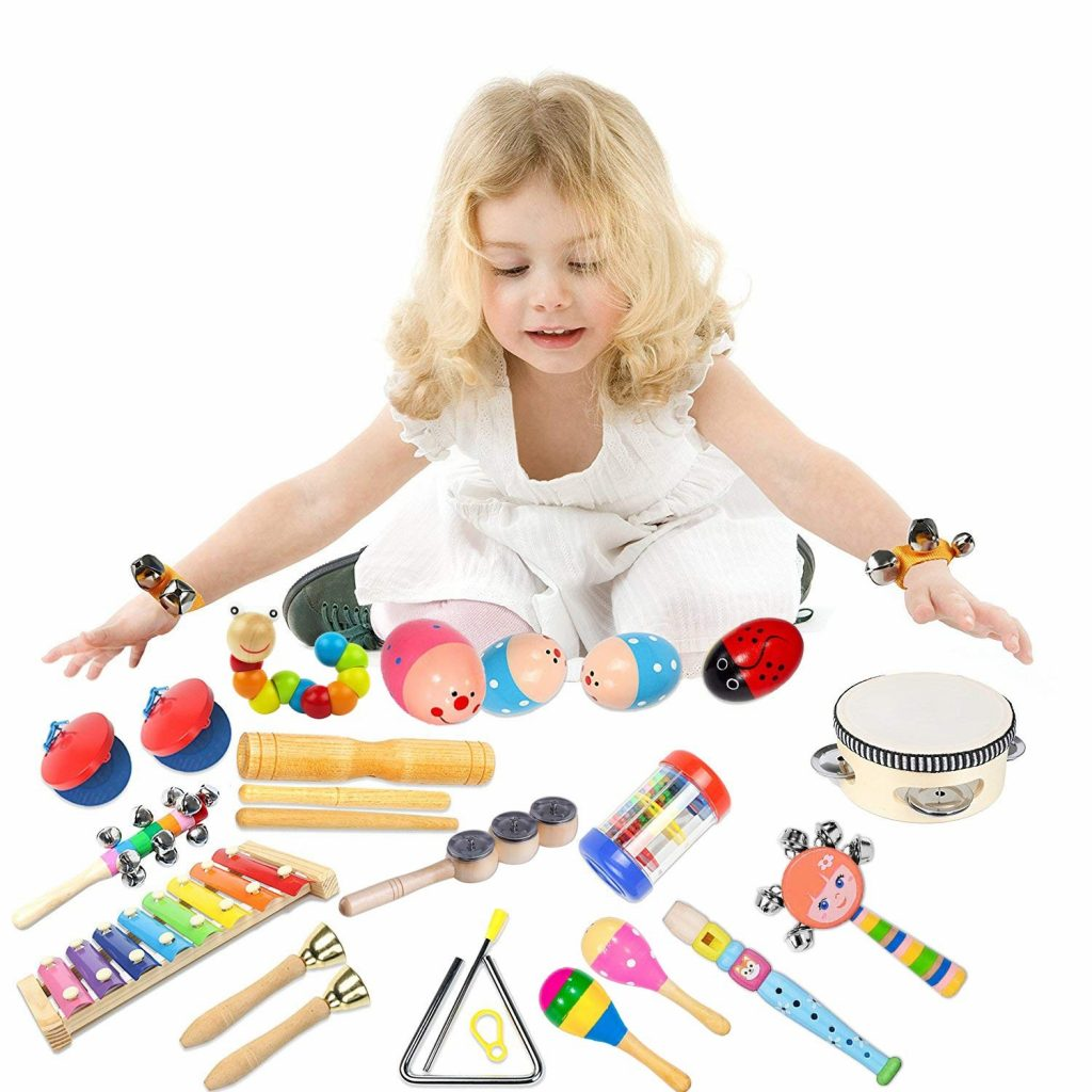 Bigear Enfant Instruments de Musique 20Pcs Bébé Jouet en Bois pour Enfant Ensemble de Clochettes et Tambour Maracas avec Sac de Transport