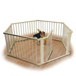 Monsieur Bébé ® Barrière de sécurité et parc bébé (4, 6 ou 8 côtés) en bois - Norme EN 12227 - 6 côtés / 5.28m - Beige