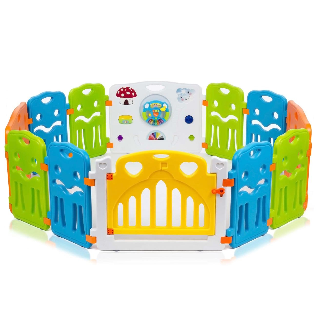 Baby Vivo Parc Bébé Barrière Securitè avec Porte Plastique Enfant Protection Grand Jeu Extensible - COLORS XL