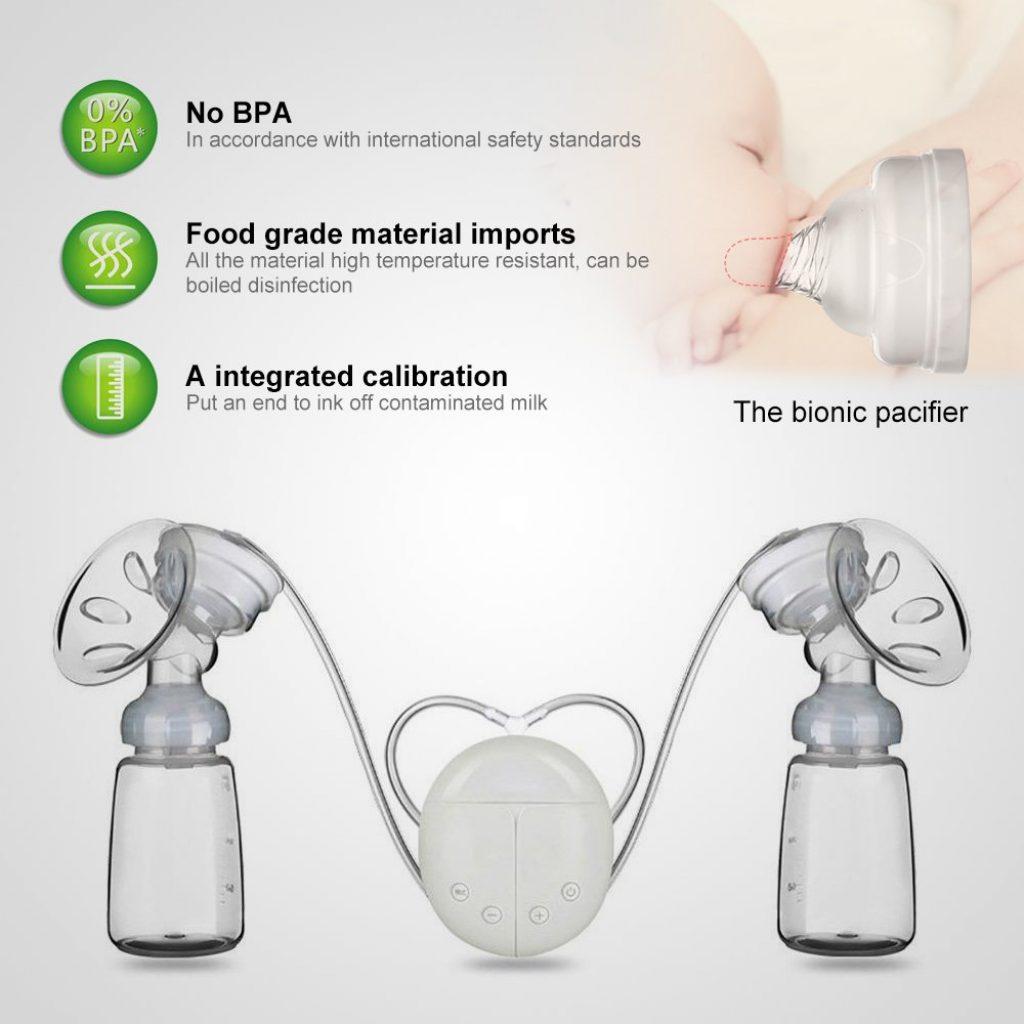 Tire-laits, MYSWEETY Tire-lait électrique pompe à double sein pompes à lait à double contrôle lait d'aspiration et de poitrine massager soins du sein USB charge