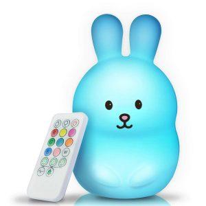 BRUNOKO [bébé veilleuse portable et rechargeable à 9 couleurs] 2019 Nouveau Grand - multicolore LED lampe de nuit pour enfants - USB rechargeable avec télécommande - silicone souple et lavable [Classe énergétique A+]