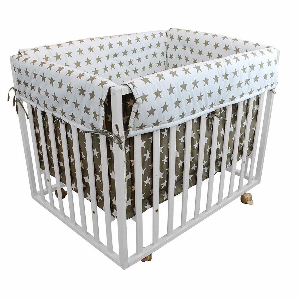 Monsieur Bébé ® Parc bébé évolutif 4 Côtés en bois + tour de parc - Bois naturel - Norme NF EN12227