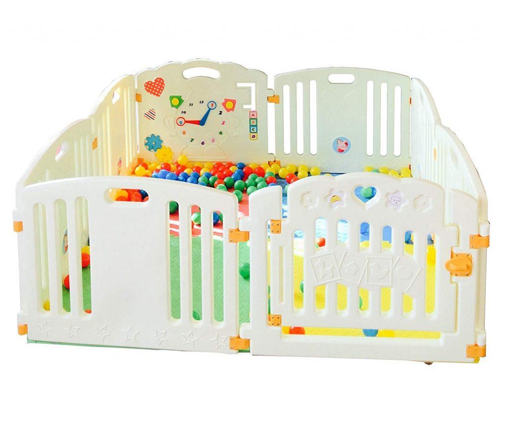 All Stars Parc bébé 8 pièces XXL avec panneaux d'activité tapis de sol et 200 balles colorées Fabriqué avec matériaux non toxiques