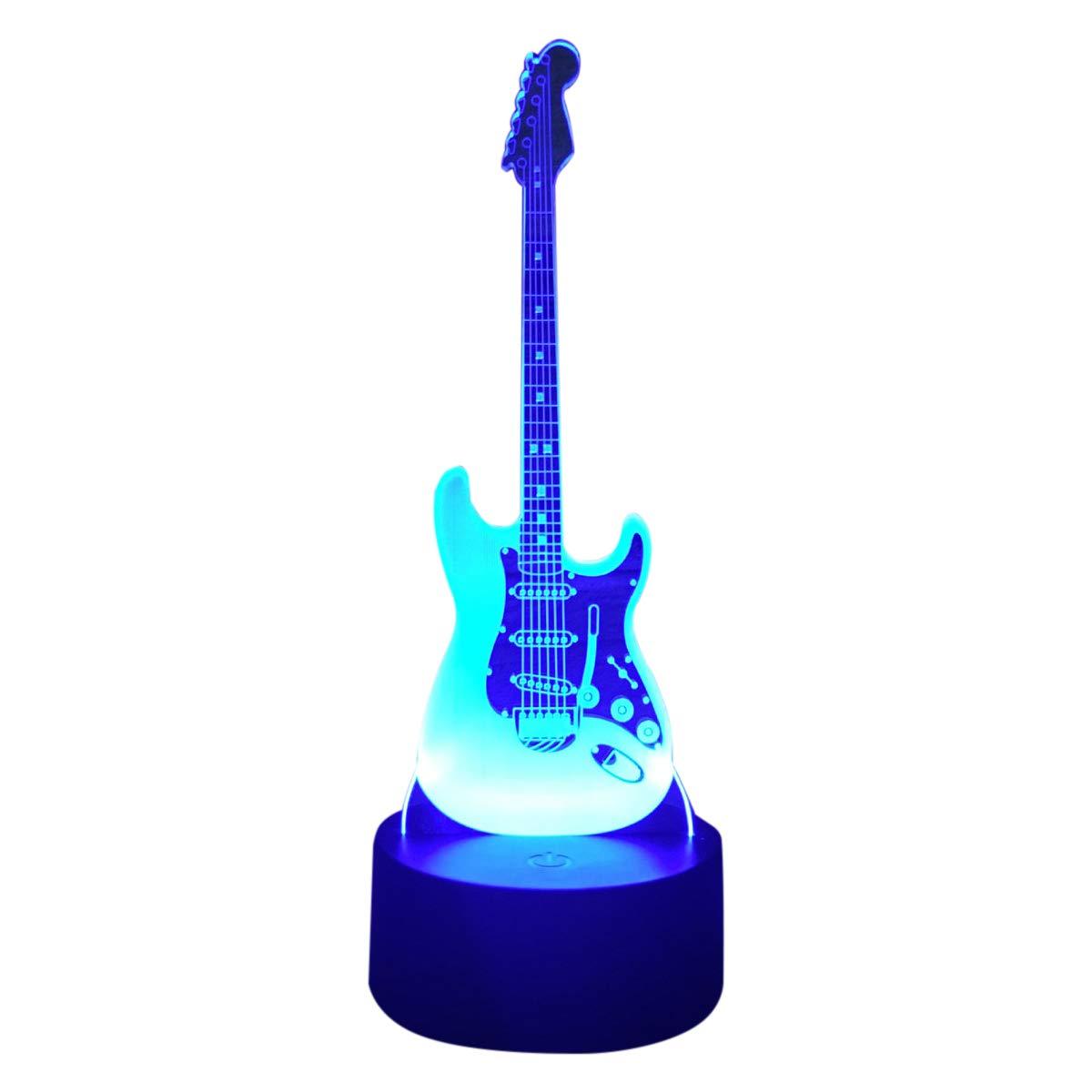 3D Lampe Illusion Optique LED Veilleuse, EASEHOME Optiques Illusions Lampe de Nuit 7 Couleurs Tactile Lampe de Chevet Chambre Table Art Déco Enfant Lumière de Nuit avec Câble USB, Guitare