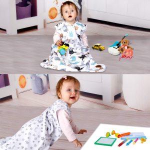 Lictin Gigoteuse d'Emmaillotage - 2pcs Couverture Bébé en 100% Coton Biologique Couverture d'emmaillotage pour Bébé 2 modèles Longueur Ajustable de 70 à 90 cm Pour Bébé de 3 à 18 Mois