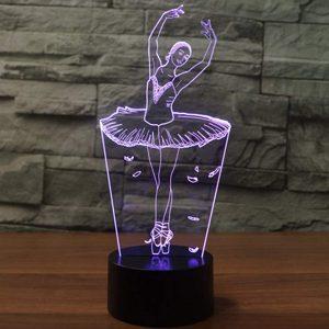 3D Lampe Illusion Optique LED Veilleuse, EASEHOME Optiques Illusions Lampe de Nuit 7 Couleurs Tactile Lampe de Chevet Chambre Table Art Déco Enfant Lumière de Nuit avec Câble USB, Danseur
