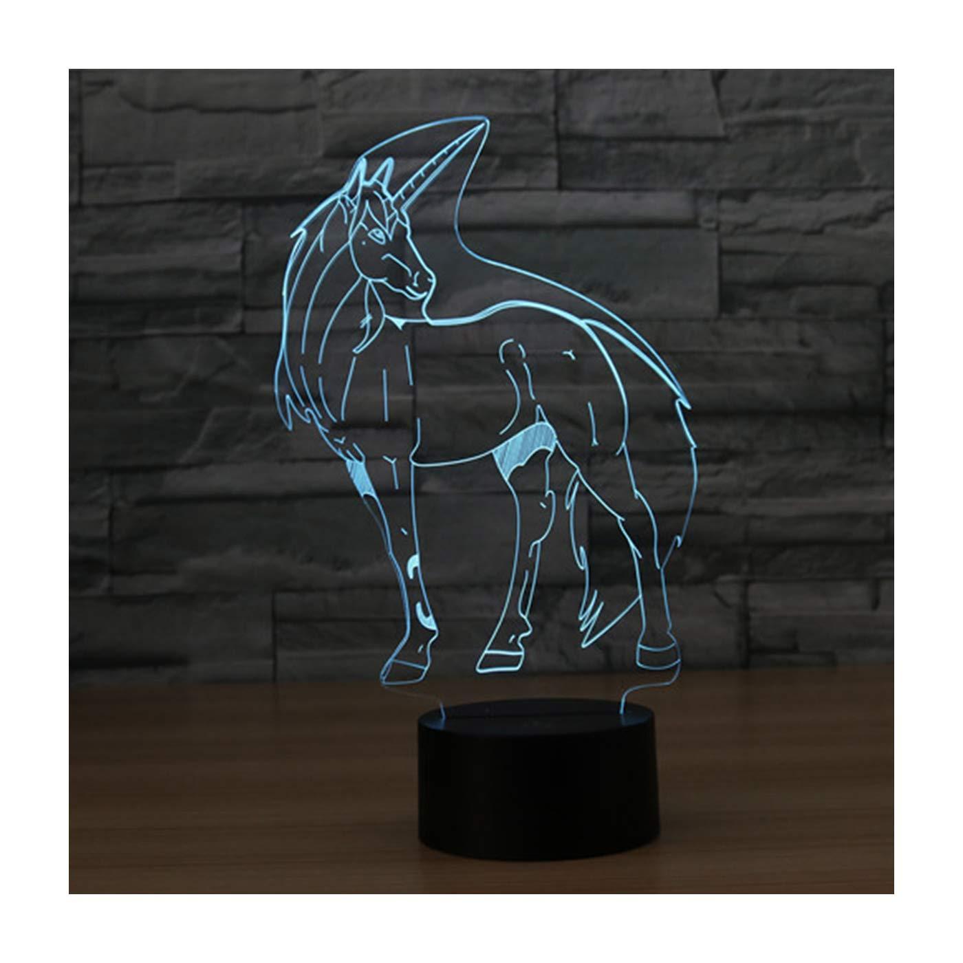 3D Lampe Illusion Optique LED Veilleuse, EASEHOME Optiques Illusions Lampe de Nuit 7 Couleurs Tactile Lampe de Chevet Chambre Table Art Déco Enfant Lumière de Nuit avec Câble USB, Licorne