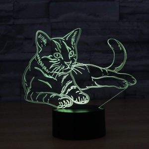3D Lampe Illusion Optique LED Veilleuse, EASEHOME Optiques Illusions Lampe de Nuit 7 Couleurs Tactile Lampe de Chevet Chambre Table Art Déco Enfant Lumière de Nuit avec Câble USB, Chat