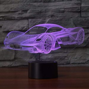 3D Lampe Illusion Optique LED Veilleuse, EASEHOME Optiques Illusions Lampe de Nuit 7 Couleurs Tactile Lampe de Chevet Chambre Table Art Déco Enfant Lumière de Nuit avec Câble USB, Voiture de Course-2