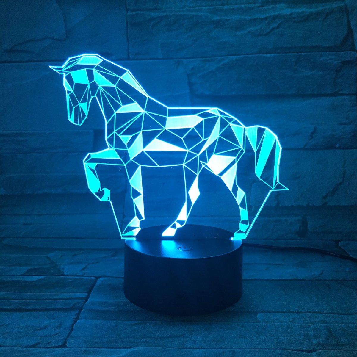 3D Lampe Illusion Optique LED Veilleuse, EASEHOME Optiques Illusions Lampe de Nuit 7 Couleurs Tactile Lampe de Chevet Chambre Table Art Déco Enfant Lumière de Nuit avec Câble USB, Cheval
