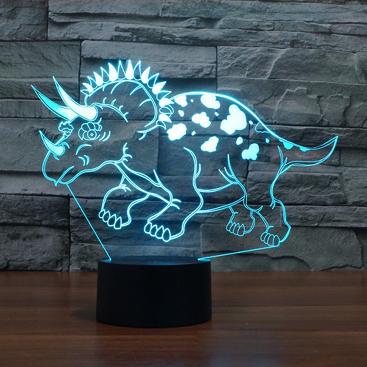 3D Lampe Illusion Optique LED Veilleuse, EASEHOME Optiques Illusions Lampe de Nuit 7 Couleurs Tactile Lampe de Chevet Chambre Table Art Déco Enfant Lumière de Nuit avec Câble USB, Dinosaure-1