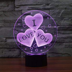 3D Lampe Illusion Optique LED Veilleuse, EASEHOME Optiques Illusions Lampe de Nuit 7 Couleurs Tactile Lampe de Chevet Chambre Table Art Déco Enfant Lumière de Nuit avec Câble USB, Amour