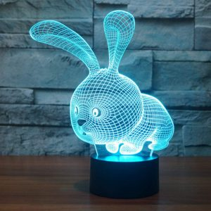 3D Lampe Illusion Optique LED Veilleuse, EASEHOME Optiques Illusions Lampe de Nuit 7 Couleurs Tactile Lampe de Chevet Chambre Table Art Déco Enfant Lumière de Nuit avec Câble USB, Lapin