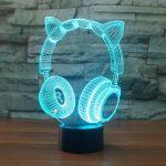 3D Lampe Illusion Optique LED Veilleuse, EASEHOME Optiques Illusions Lampe de Nuit 7 Couleurs Tactile Lampe de Chevet Chambre Table Art Déco Enfant Lumière de Nuit avec Câble USB, Écouteurs