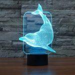 3D Lampe Illusion Optique LED Veilleuse, EASEHOME Optiques Illusions Lampe de Nuit 7 Couleurs Tactile Lampe de Chevet Chambre Table Art Déco Enfant Lumière de Nuit avec Câble USB, Dauphin