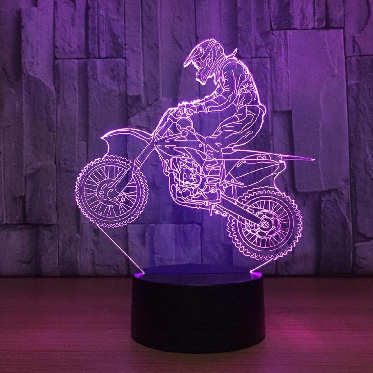 3D Lampe Illusion Optique LED Veilleuse, EASEHOME Optiques Illusions Lampe de Nuit 7 Couleurs Tactile Lampe de Chevet Chambre Table Art Déco Enfant Lumière de Nuit avec Câble USB, Vélo de Motocross
