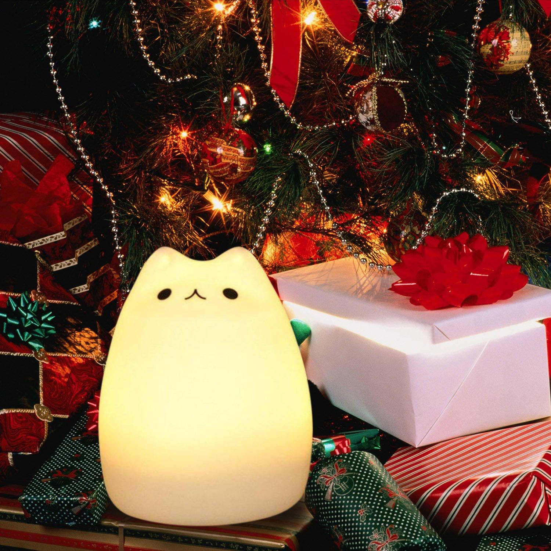 Diyife Coloré Veilleuse, Toucher Lumière LED Lampe de Nuit, 7 Couleurs USB Rechargeable Lampe Sensible, Lampe de Silicone, Lampe de Chevet, Ambiance légère