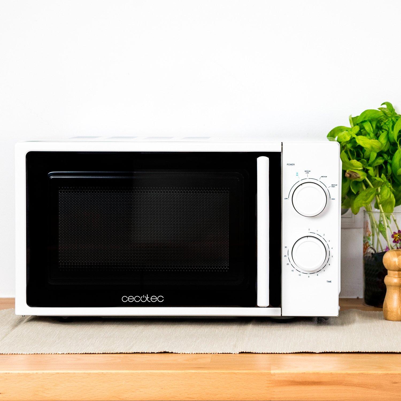 Cecotec Micro-ondes Simple White, Capacité de 20 L, 700 W, Temporisateur jusqu'à 30 min, 6 Niveaux de Puissance