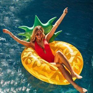 Grand Bouée Gonflable Ananas pour Fêtes de Piscine, Jouet Gonflable d'été, Jouet Fêtes de Piscine avec vannes Rapide